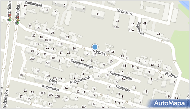 Sosnowiec, Rybna, 12, mapa Sosnowca