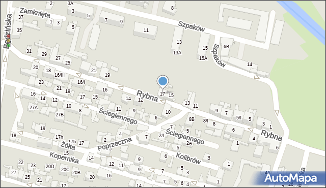 Sosnowiec, Rybna, 17, mapa Sosnowca