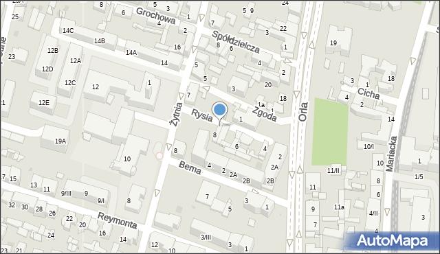 Sosnowiec, Rysia, 8A, mapa Sosnowca