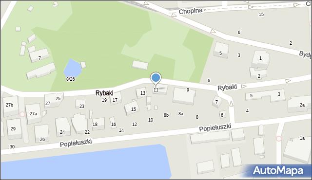 Toruń, Rybaki, 11, mapa Torunia