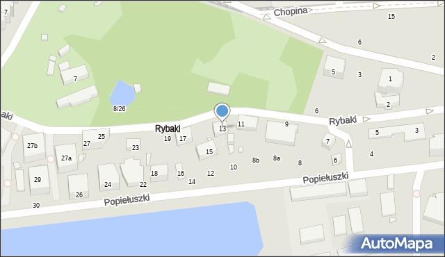 Toruń, Rybaki, 13, mapa Torunia