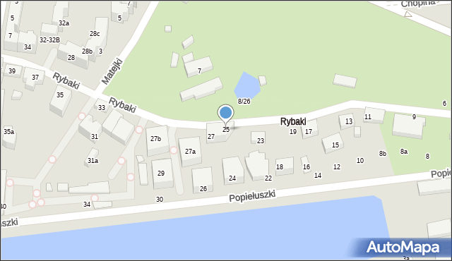 Toruń, Rybaki, 25, mapa Torunia