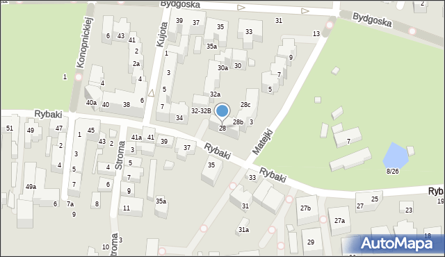 Toruń, Rybaki, 28, mapa Torunia