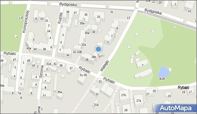 Toruń, Rybaki, 28a, mapa Torunia