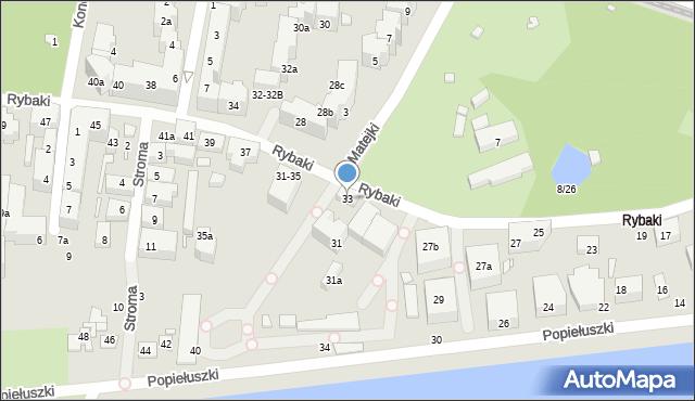Toruń, Rybaki, 33, mapa Torunia