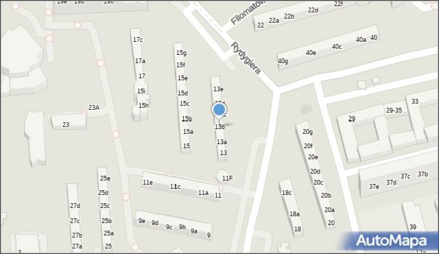 Toruń, Rydygiera Ludwika, 13b, mapa Torunia