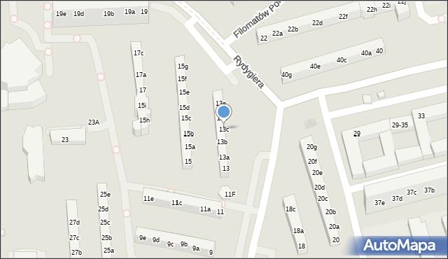 Toruń, Rydygiera Ludwika, 13c, mapa Torunia