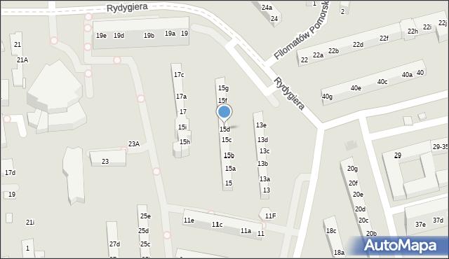 Toruń, Rydygiera Ludwika, 15d, mapa Torunia