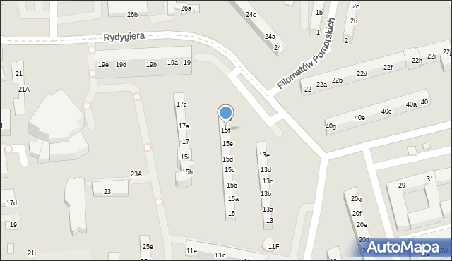 Toruń, Rydygiera Ludwika, 15f, mapa Torunia