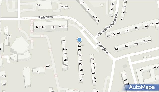 Toruń, Rydygiera Ludwika, 15g, mapa Torunia