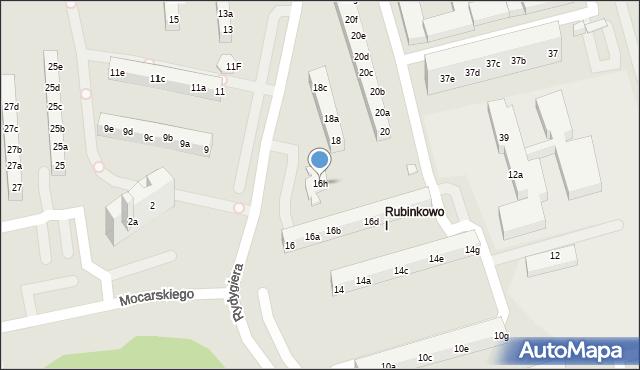 Toruń, Rydygiera Ludwika, 16h, mapa Torunia