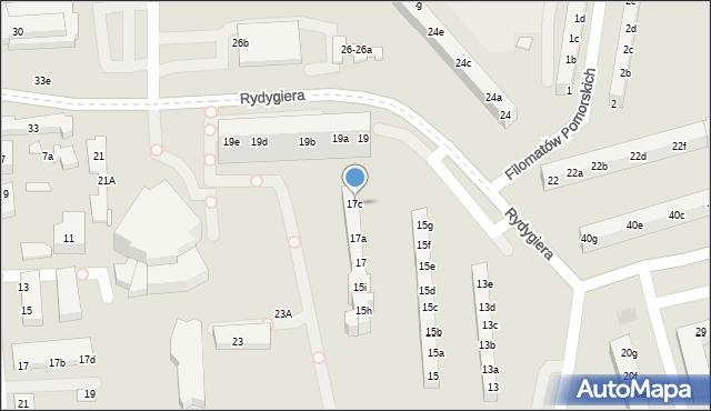 Toruń, Rydygiera Ludwika, 17c, mapa Torunia