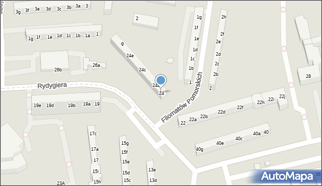 Toruń, Rydygiera Ludwika, 24, mapa Torunia