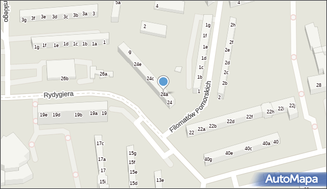 Toruń, Rydygiera Ludwika, 24a, mapa Torunia