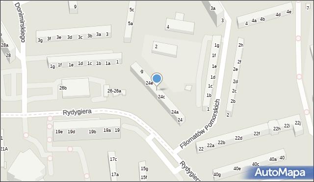 Toruń, Rydygiera Ludwika, 24d, mapa Torunia