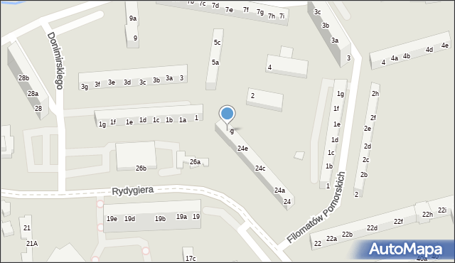 Toruń, Rydygiera Ludwika, 24g, mapa Torunia