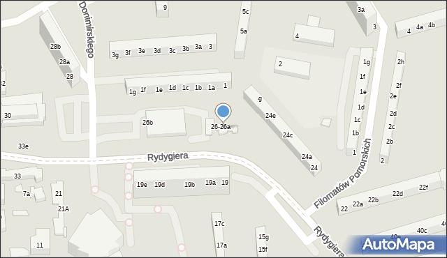 Toruń, Rydygiera Ludwika, 26a, mapa Torunia