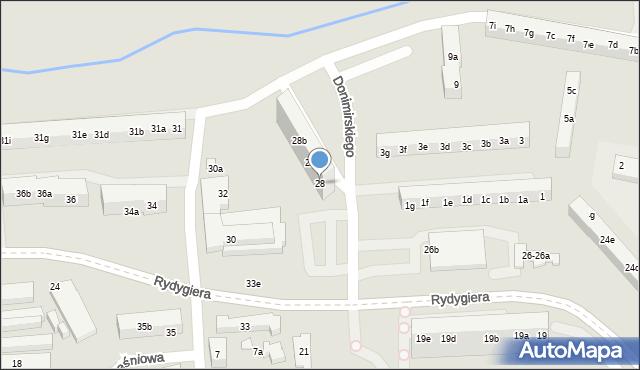 Toruń, Rydygiera Ludwika, 28, mapa Torunia