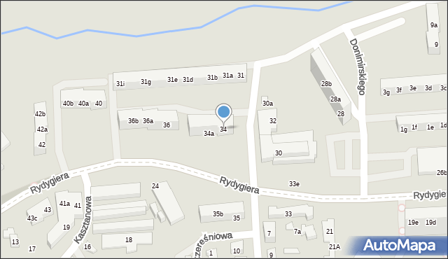 Toruń, Rydygiera Ludwika, 34, mapa Torunia