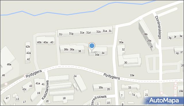 Toruń, Rydygiera Ludwika, 34b, mapa Torunia