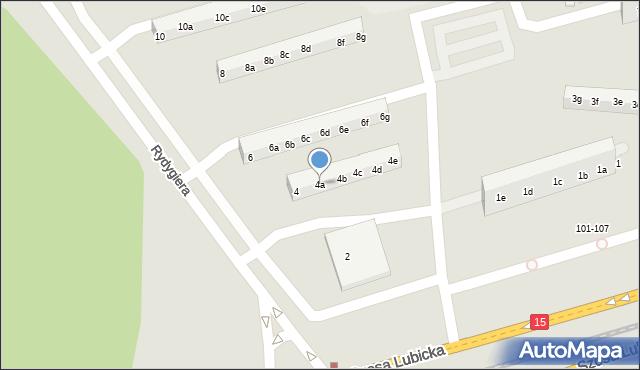 Toruń, Rydygiera Ludwika, 4a, mapa Torunia