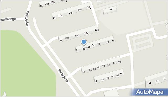 Toruń, Rydygiera Ludwika, 8a, mapa Torunia