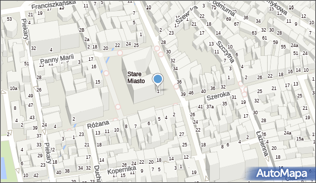 Toruń, Rynek Staromiejski, 1, mapa Torunia