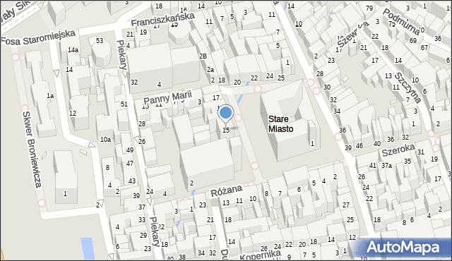 Toruń, Rynek Staromiejski, 15, mapa Torunia