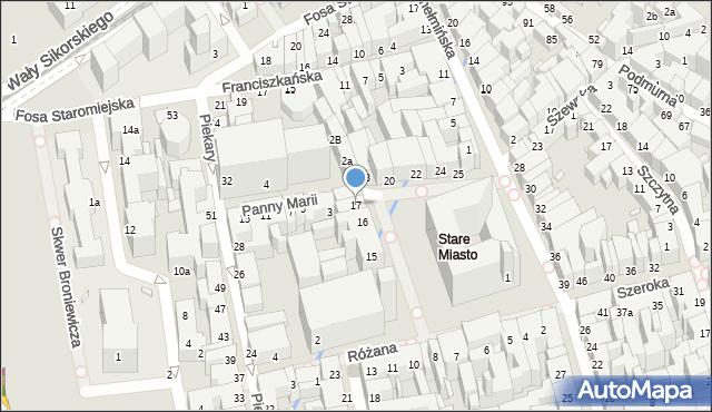 Toruń, Rynek Staromiejski, 17, mapa Torunia