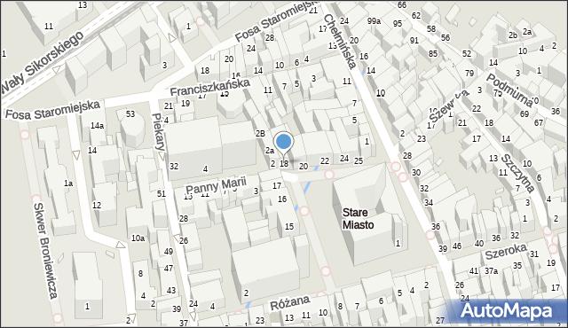 Toruń, Rynek Staromiejski, 18, mapa Torunia