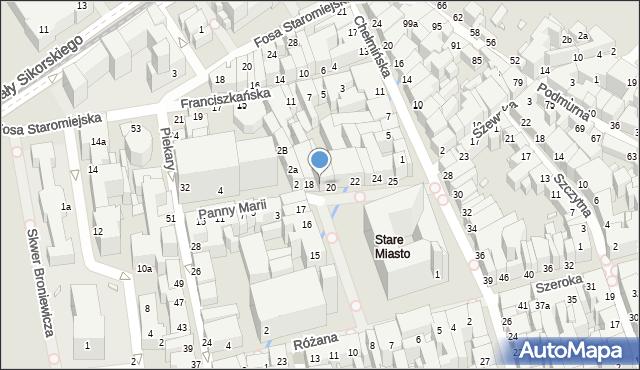Toruń, Rynek Staromiejski, 19, mapa Torunia