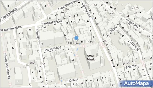 Toruń, Rynek Staromiejski, 20, mapa Torunia