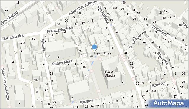 Toruń, Rynek Staromiejski, 21, mapa Torunia