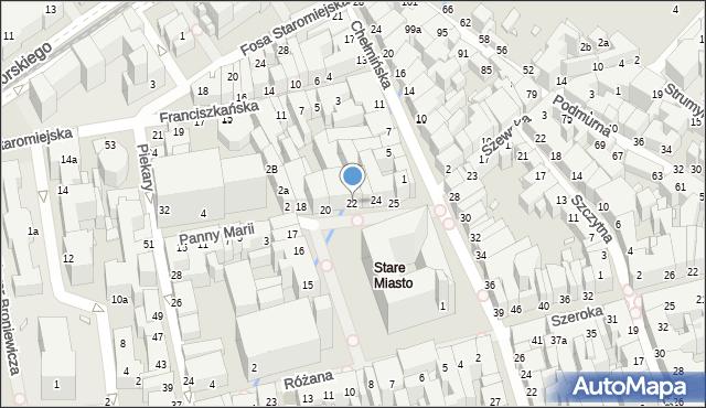 Toruń, Rynek Staromiejski, 22, mapa Torunia