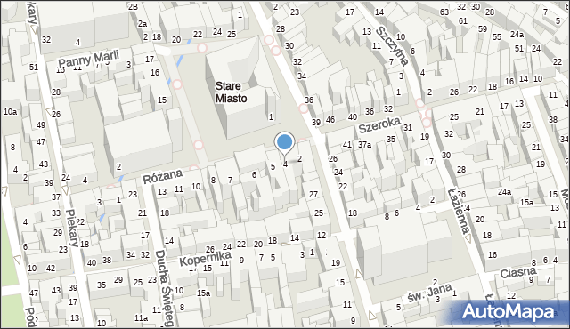 Toruń, Rynek Staromiejski, 4, mapa Torunia