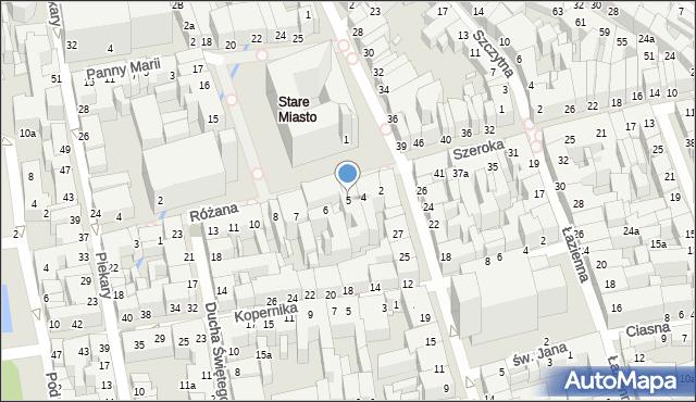 Toruń, Rynek Staromiejski, 5, mapa Torunia