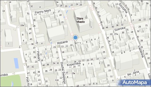 Toruń, Rynek Staromiejski, 8, mapa Torunia