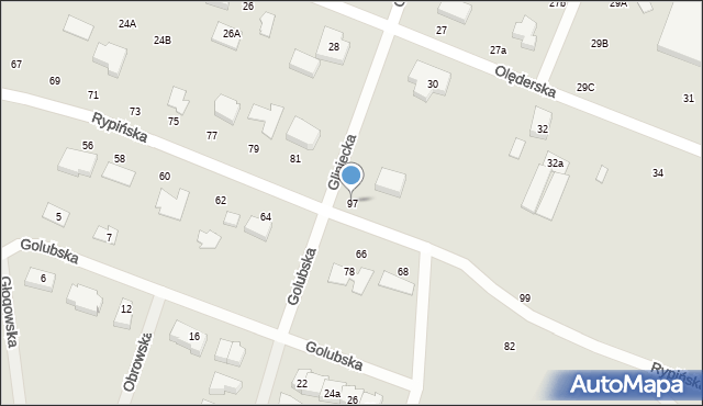 Toruń, Rypińska, 97, mapa Torunia
