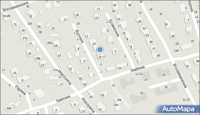 Toruń, Ryżowa, 6, mapa Torunia
