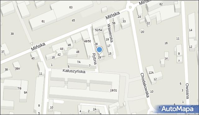 Warszawa, Rybna, 24, mapa Warszawy