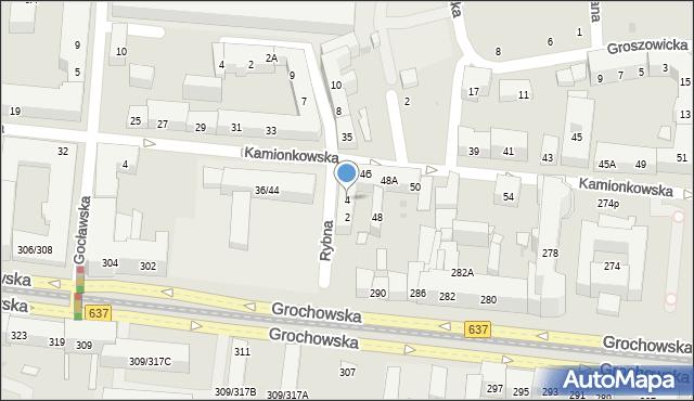 Warszawa, Rybna, 4, mapa Warszawy
