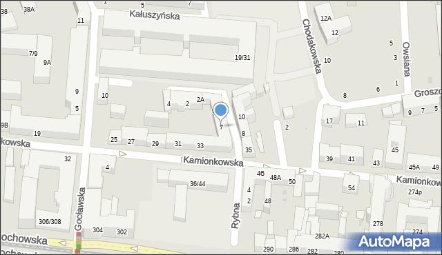 Warszawa, Rybna, 7, mapa Warszawy