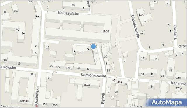 Warszawa, Rybna, 9, mapa Warszawy