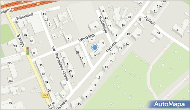 Zabrze, Rymera Józefa, 12, mapa Zabrza