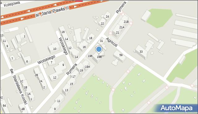 Zabrze, Rymera Józefa, 19B, mapa Zabrza