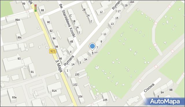 Zabrze, Rymera Józefa, 5, mapa Zabrza