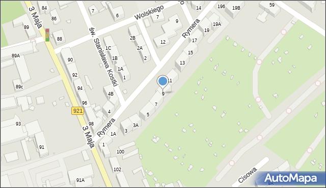 Zabrze, Rymera Józefa, 9, mapa Zabrza