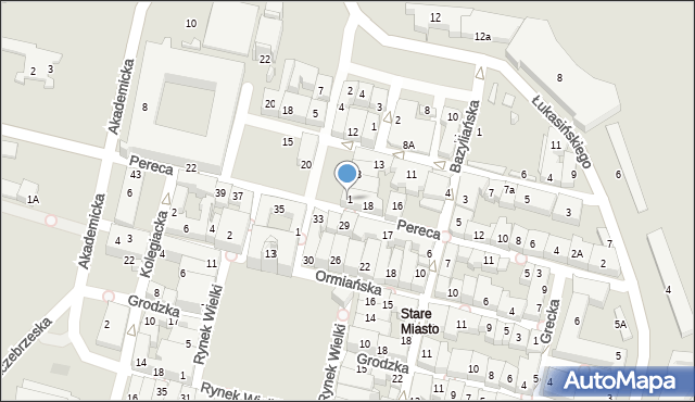 Zamość, Rynek Solny, 1, mapa Zamościa
