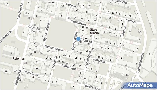 Zamość, Rynek Wielki, 6, mapa Zamościa