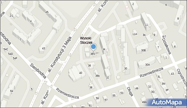 Białystok, Rzemieślnicza, 36/1, mapa Białegostoku